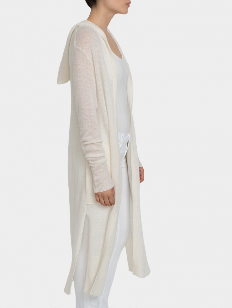 White + warren Cashmere Hooded Long Cardigan in White | Lyst