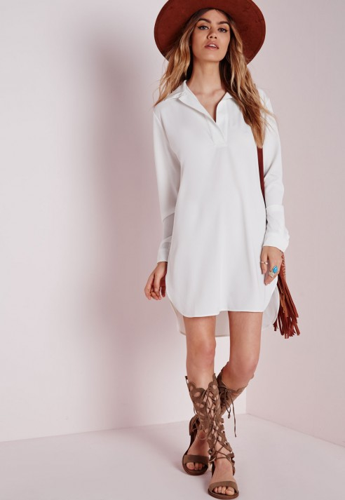 Missguided Collared Curve Hem Shirt Dress White in White | Lyst