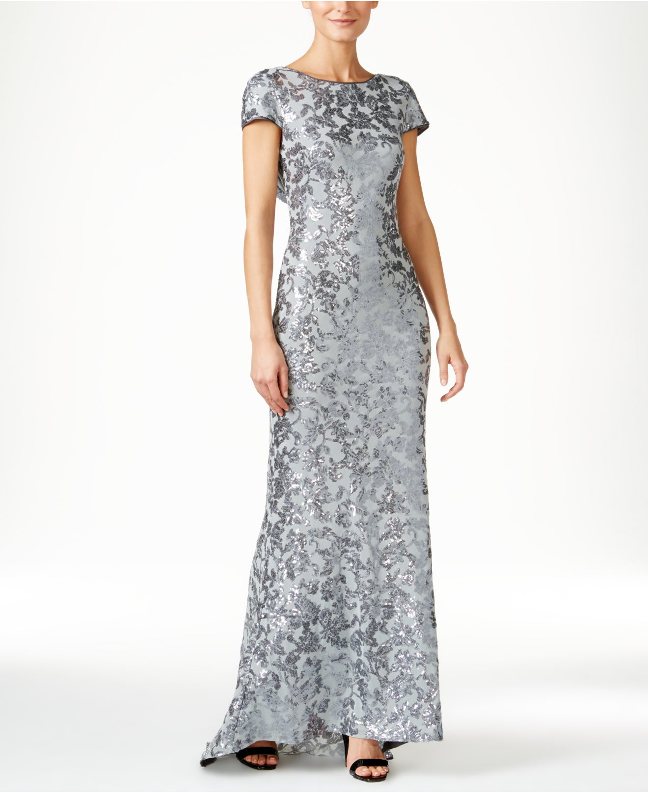 aba1f5ed82a6 Calvin Klein Sequined Cap-sleeve Gown in Gray - Lyst
