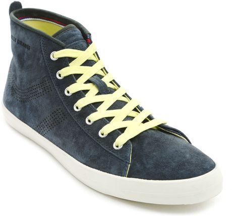 boss orange sanlio mid blue hightop suede sneakers in blue. Black Bedroom Furniture Sets. Home Design Ideas