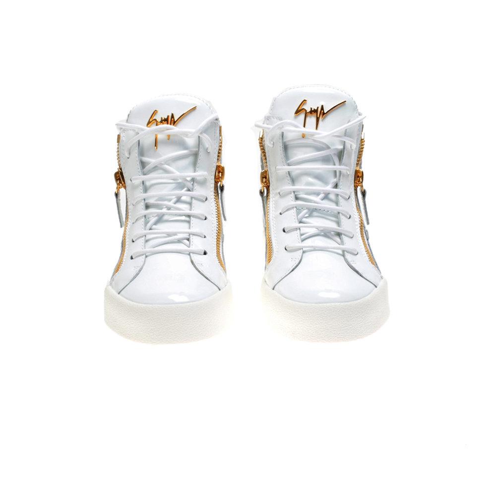 f3226835b0b82 Giuseppe Zanotti White Patent Leather Kriss Sneakers in White - Lyst