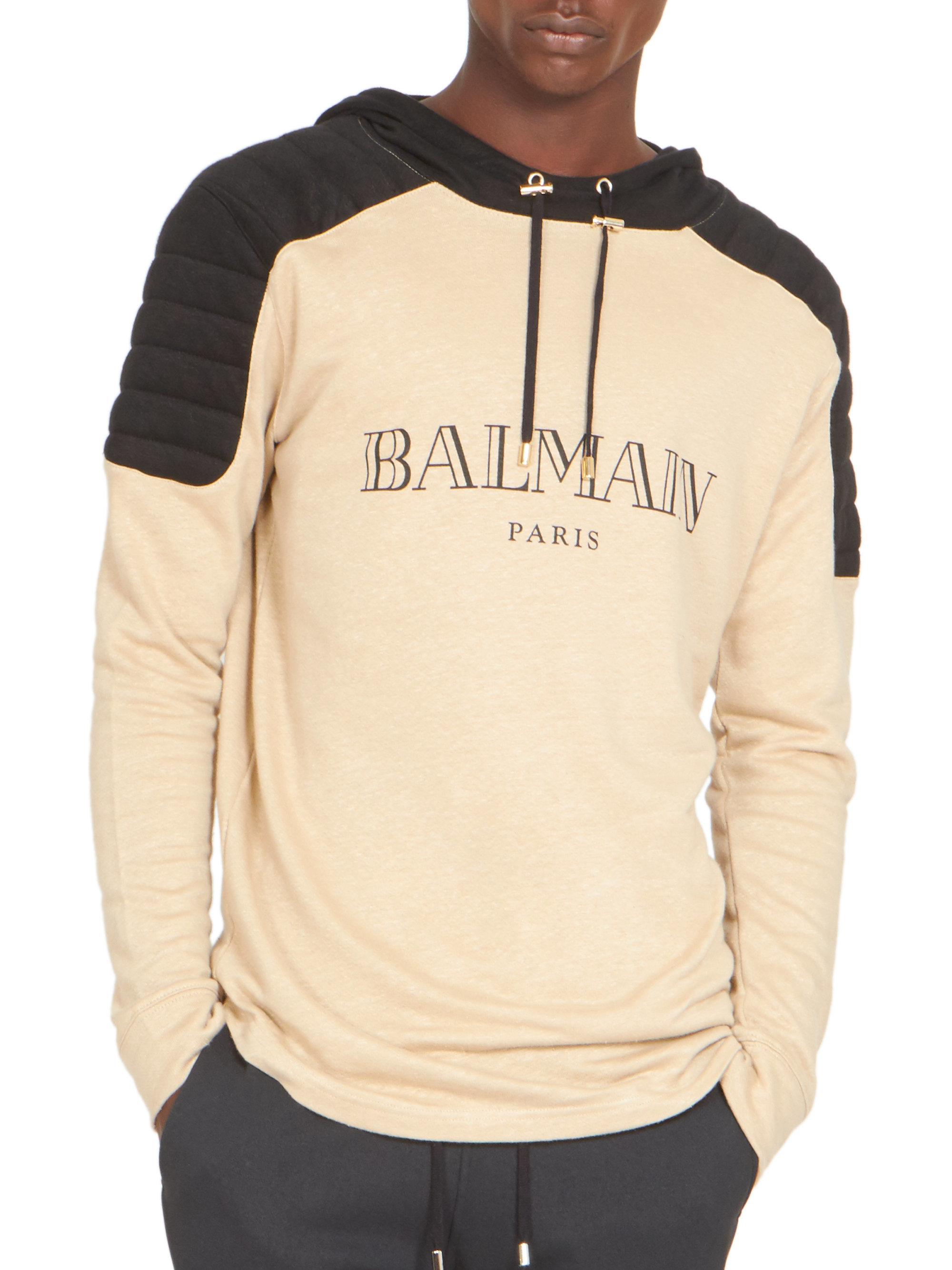 ccb07296 Balmain Logo Biker Sweatshirt in Natural for Men - Lyst