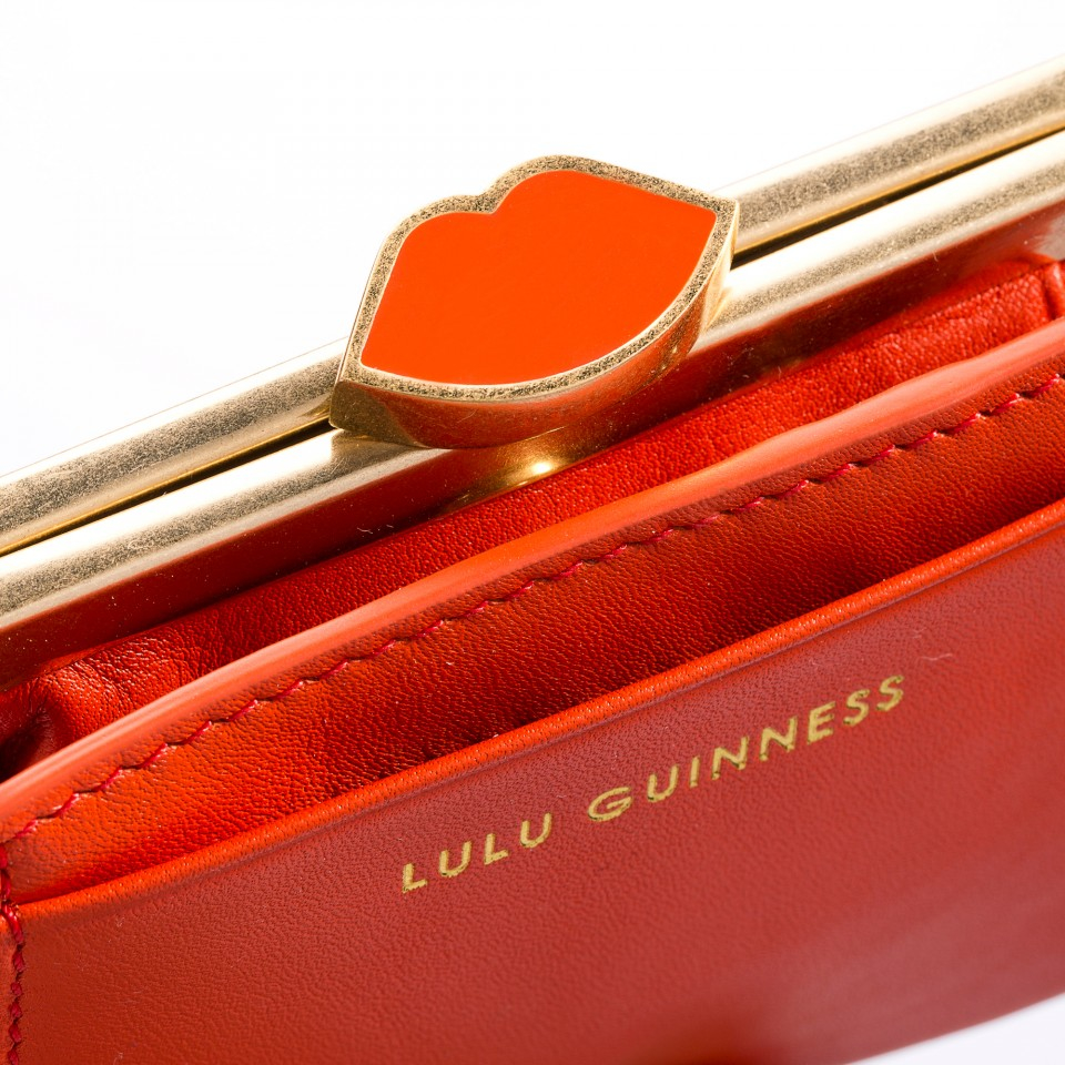 Lyst - Lulu Guinness Burnt Orange Smooth Leather Folded Frame Purse ...