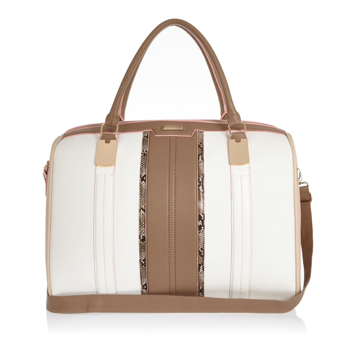 River island White Snake Print Weekend Bag in White | Lyst