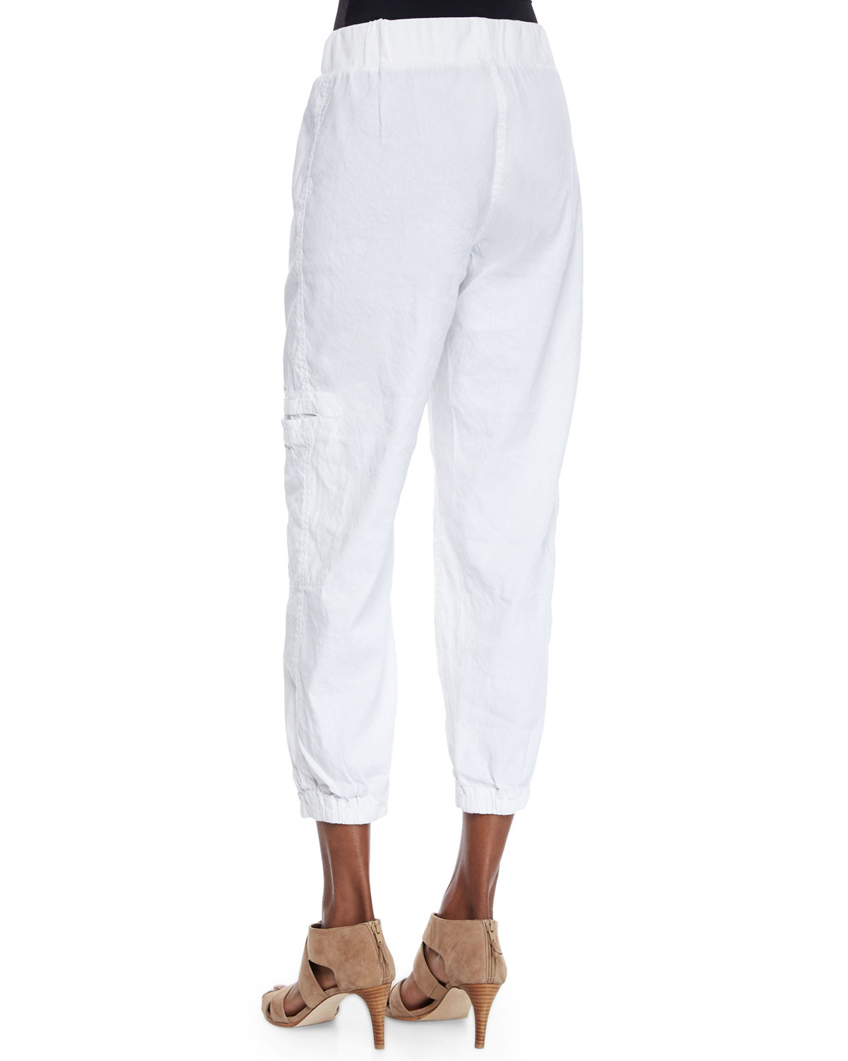 Eileen fisher Linen-blend Cargo Ankle Pants in White | Lyst