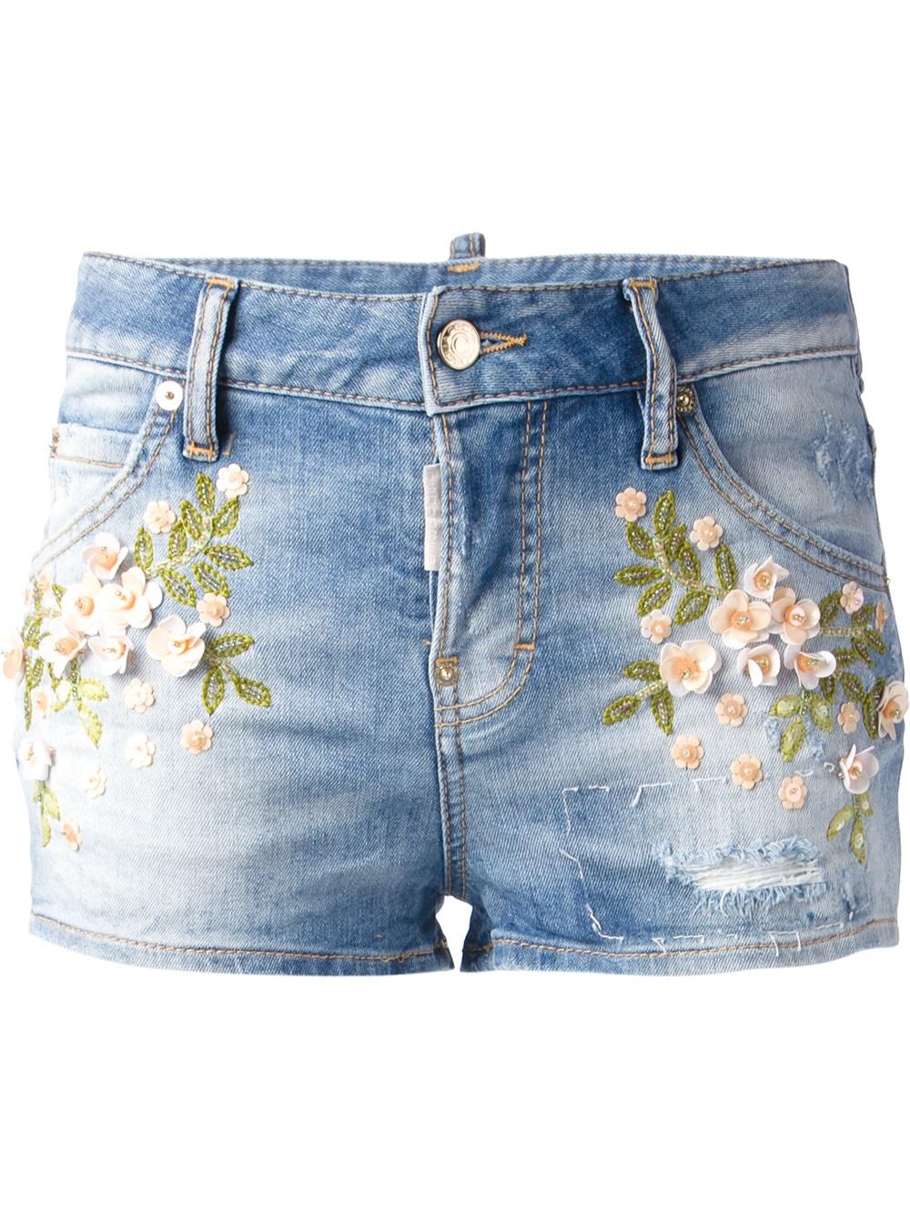 Lyst - DSquared² Embroidered Denim Shorts in Blue e159e54e931f