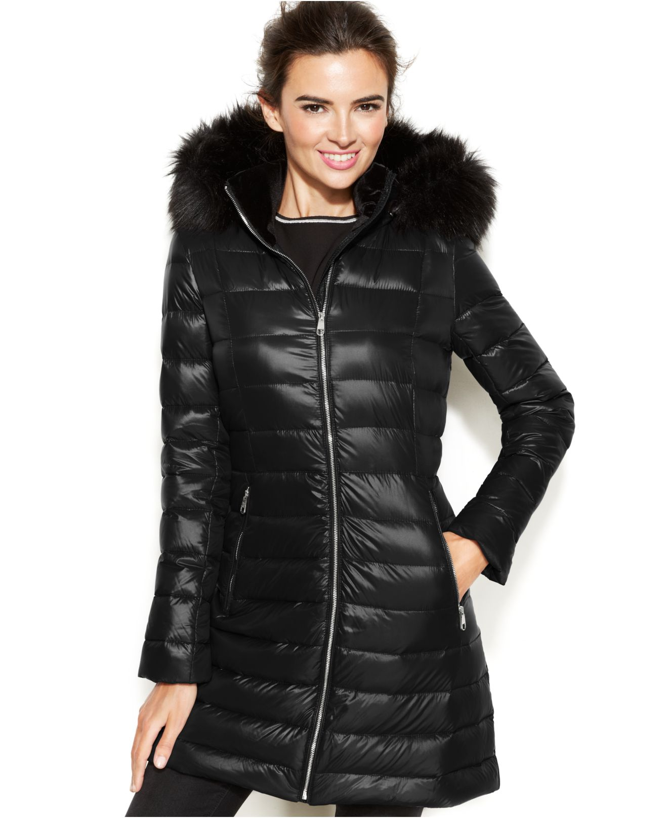 3b1c81d4ad5d Lyst Calvin Klein Faux Fur Trimmed Hooded Packable Down Coat In Black