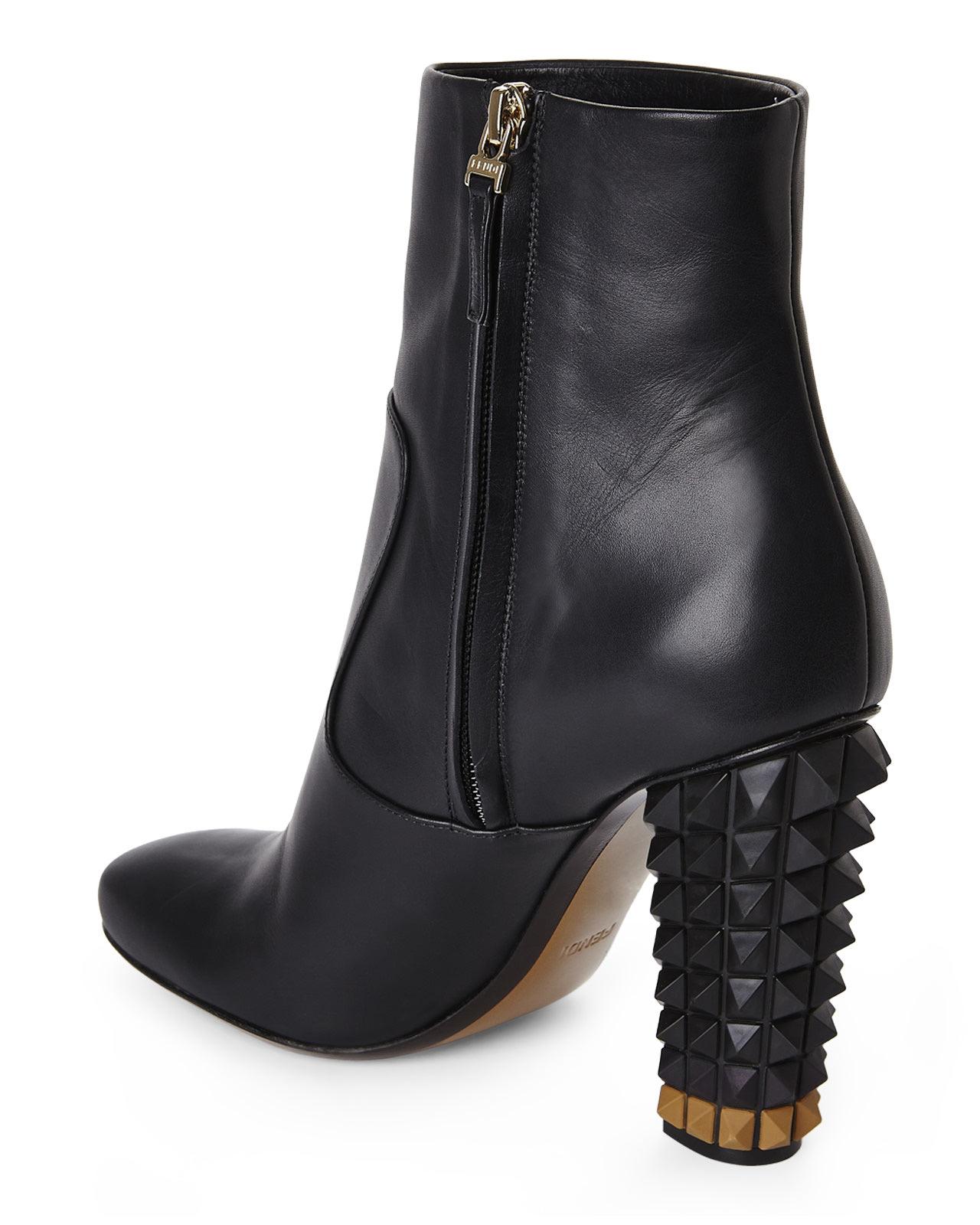 Lyst - Fendi Black Studded Heel Short Boots in Black dd7fb2112e67