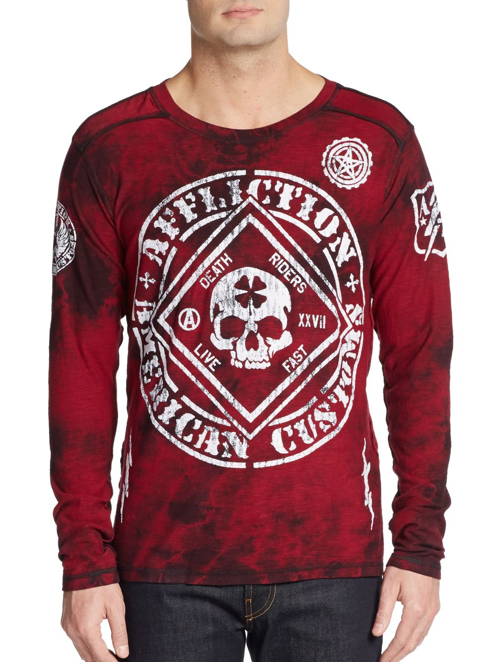 01c43a76 Lyst - Affliction Feeling Lucky Long-sleeve Tee in Red for Men