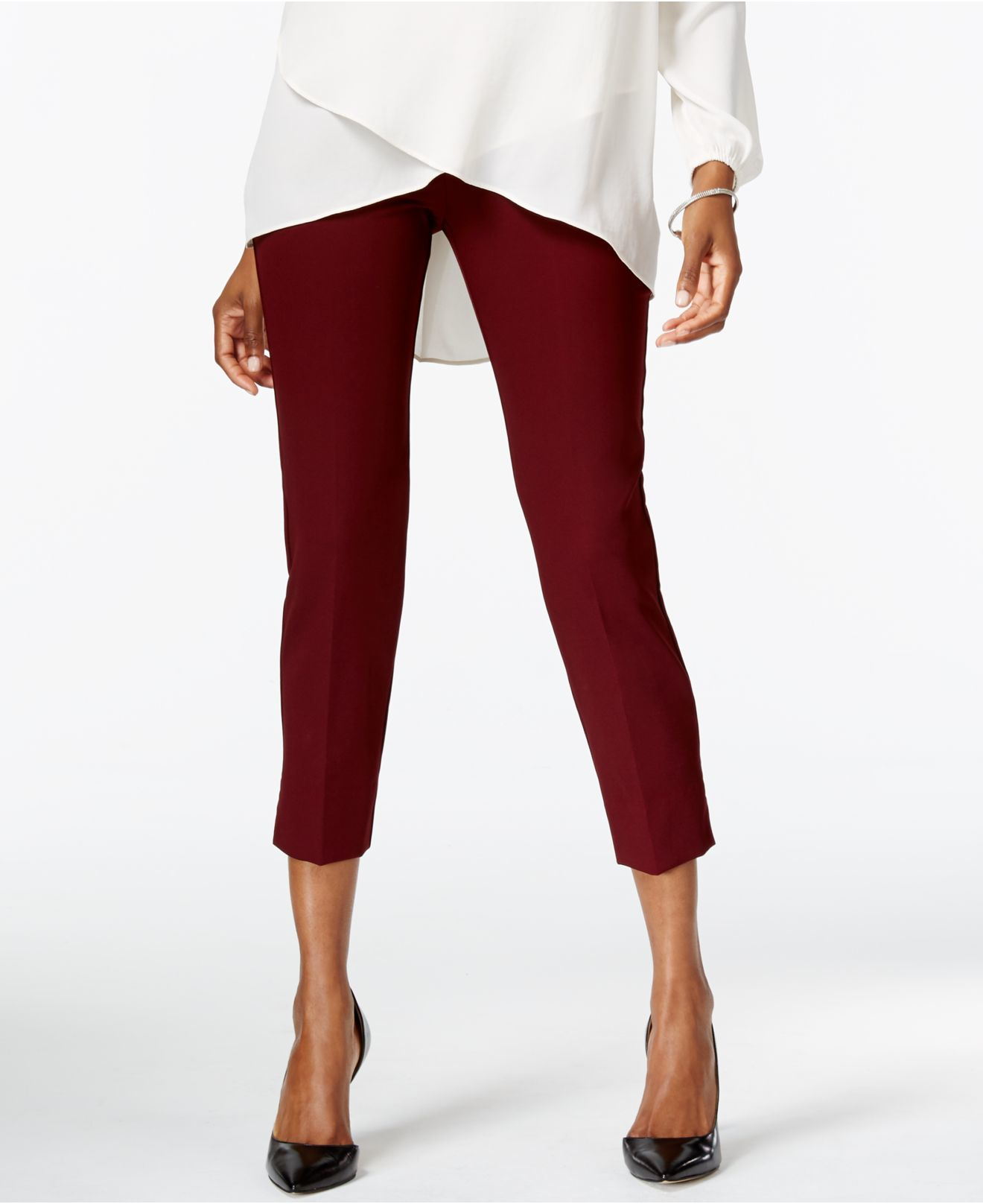 Karen kane Stretch Capri Pants in Purple | Lyst