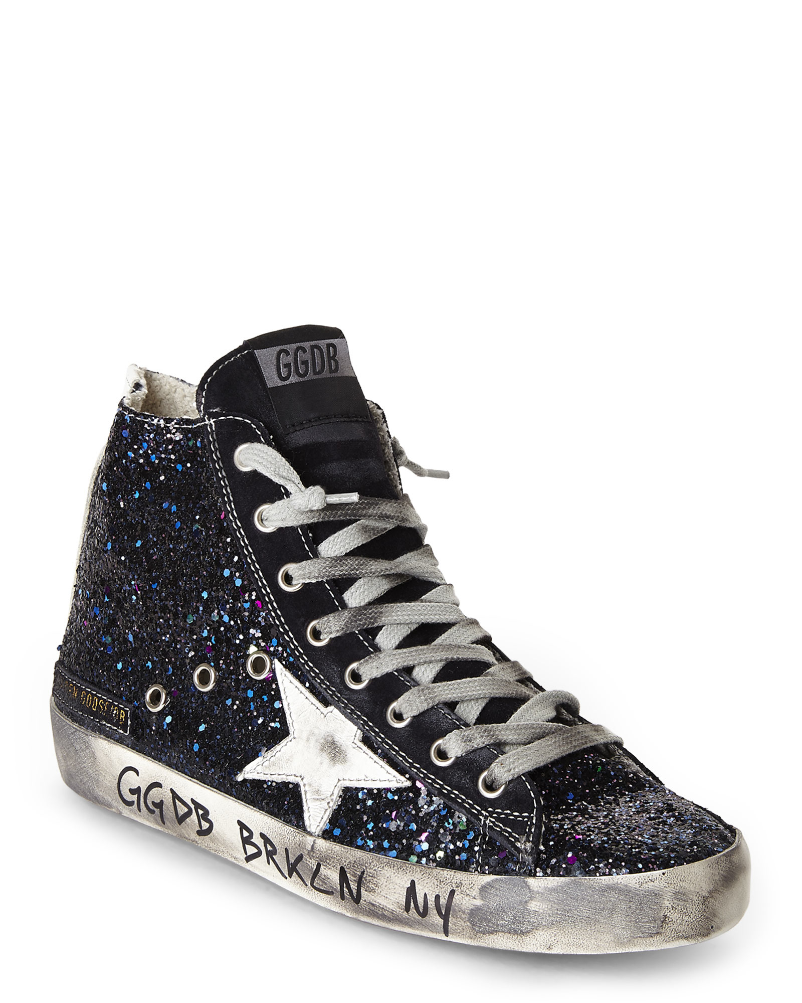 lyst golden goose deluxe brand francy glitter sneakers in black. Black Bedroom Furniture Sets. Home Design Ideas