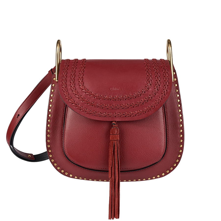 Chlo 233 Hudson Medium Leather Shoulder Bag In Red Lyst