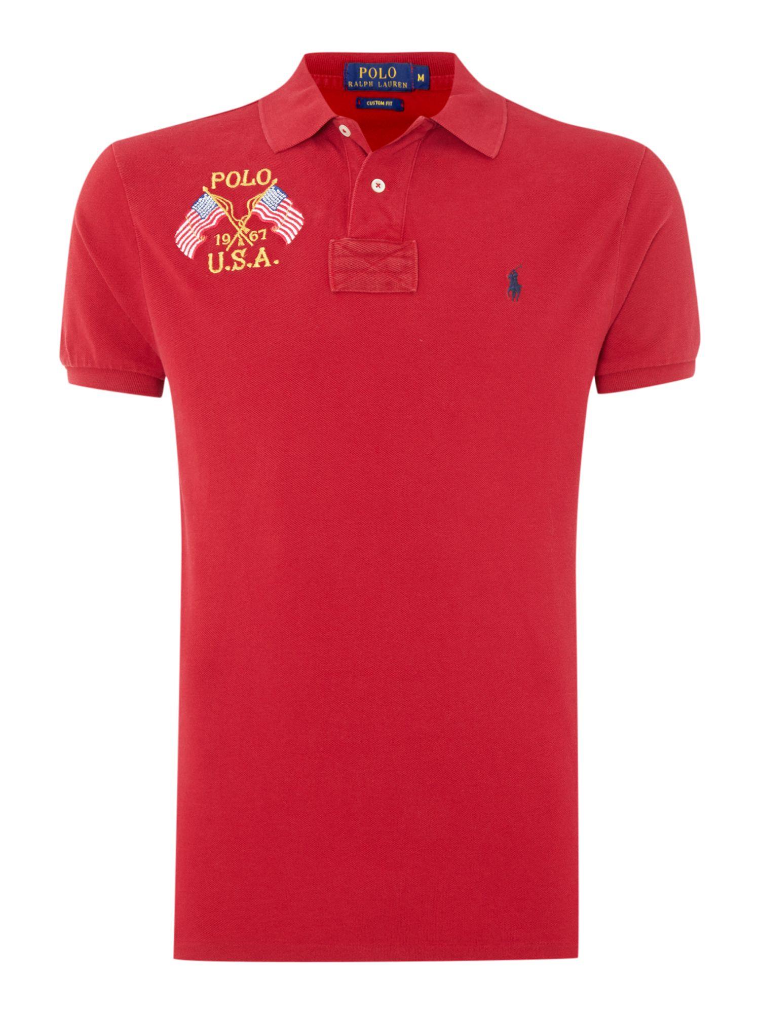 Polo Ralph Lauren Custom Fit Short Sleeve Mesh Wflag Polo