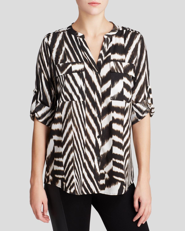 35c26f69a9e3 Calvin Klein Printed Roll Sleeve Blouse - Lyst
