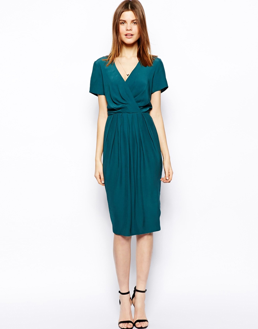 Lyst Asos Midi Tulip Dress With Wrap Front In Blue