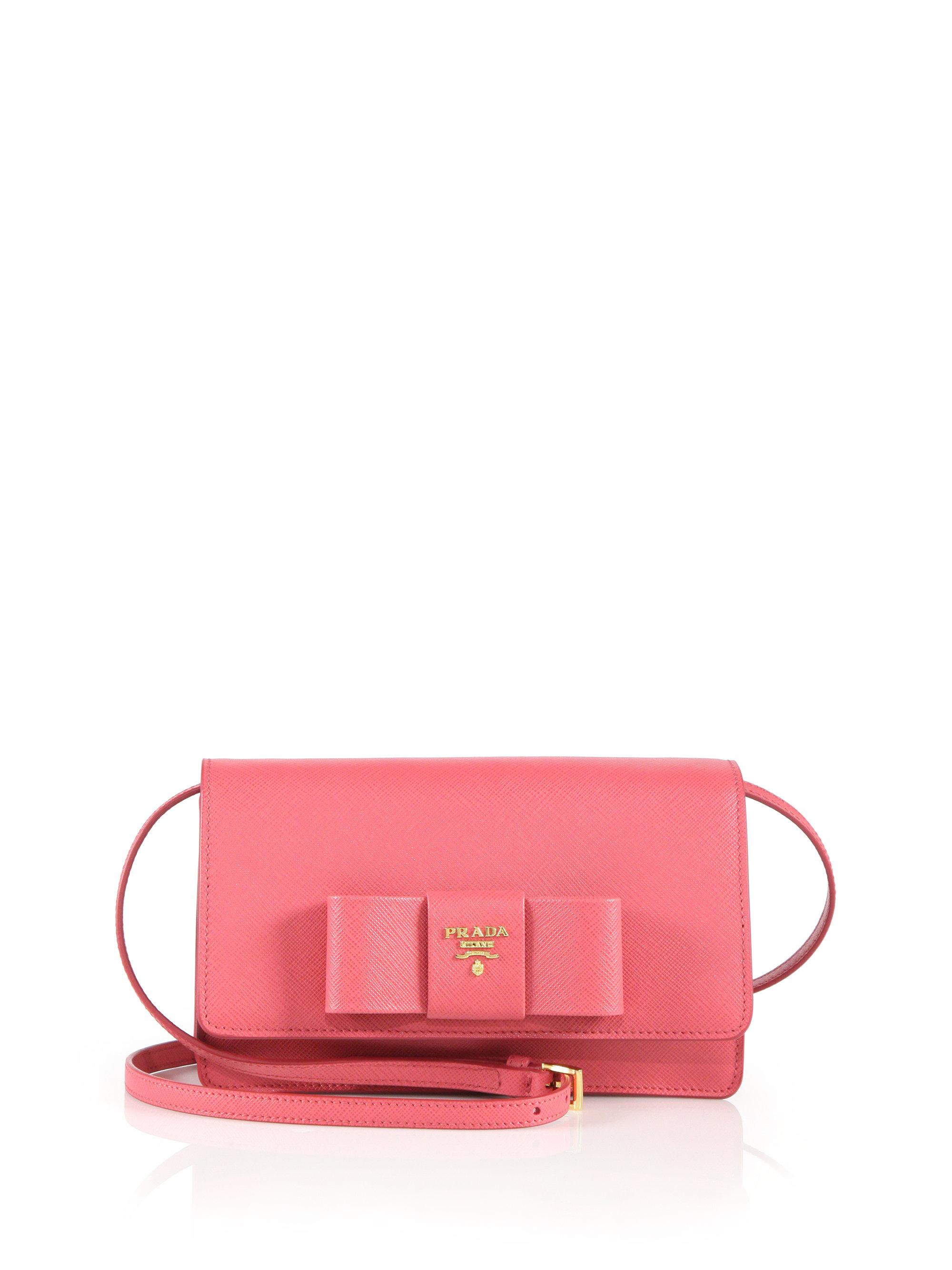 e86b6c115272 Lyst - Prada Saffiano Lux Bow Crossbody Bag in Pink