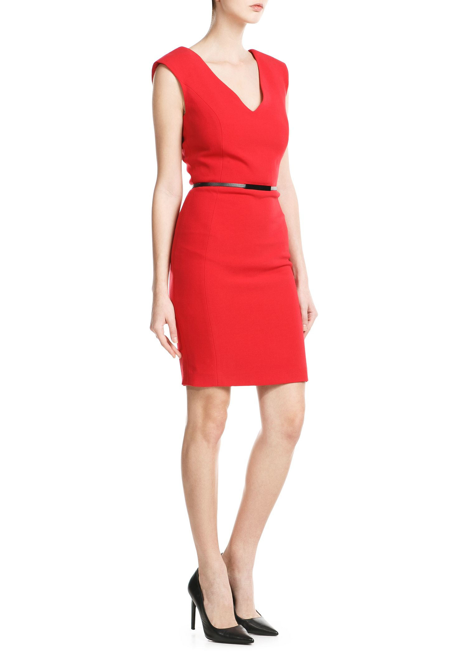 Mango Padded Shoulder Dress Red on oscar oasis videos