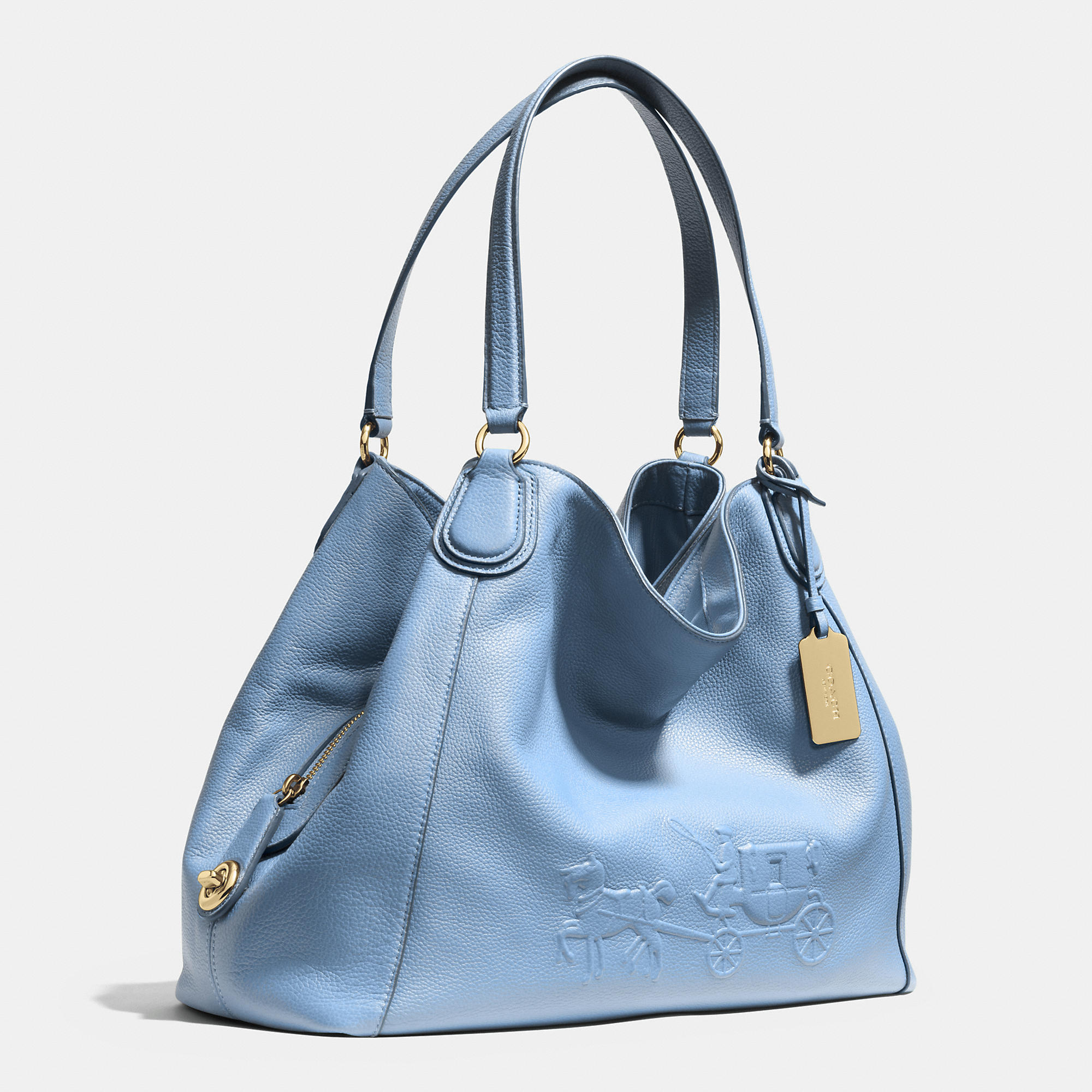 Lyst - Coach Embossed Horse And Carriage Edie Shoulder Bag In Pebbled Leather in Blue