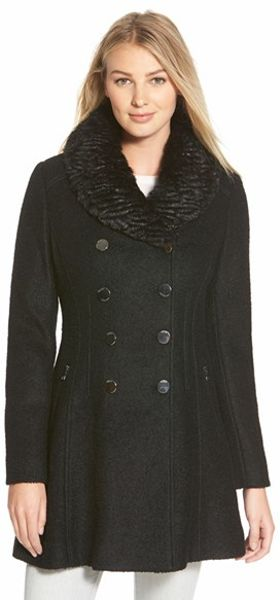Guess Faux Fur Collar Double Breasted Boucle Coat In Black