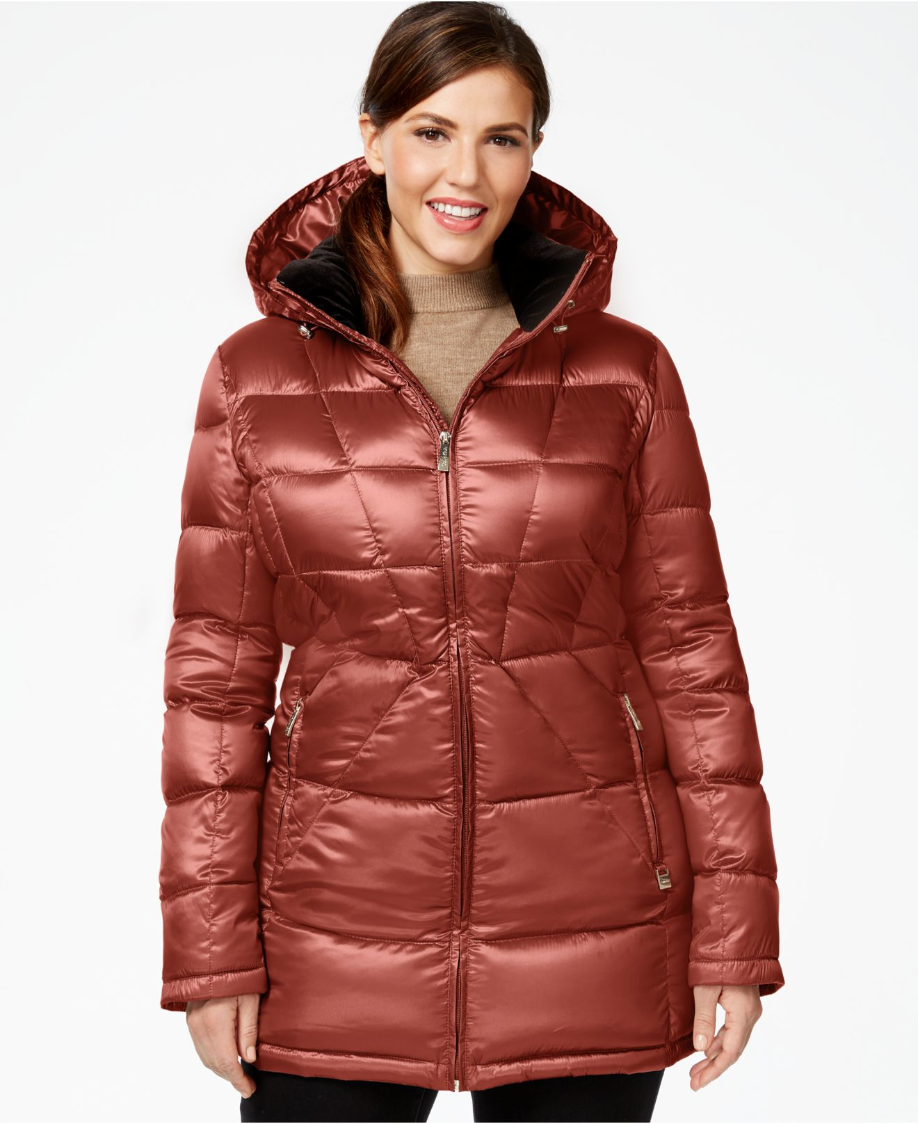 132f61bfb4b Lyst - Calvin Klein Plus Size Packable Down Puffer Coat in Purple