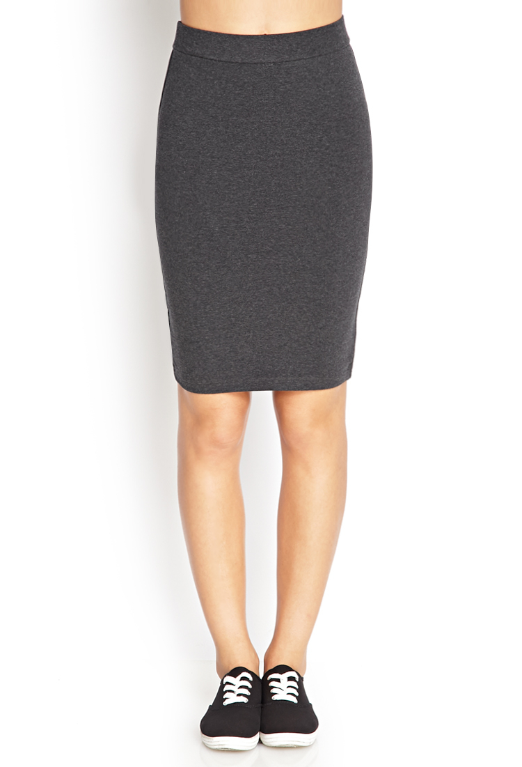 forever 21 knee length bodycon skirt in gray lyst