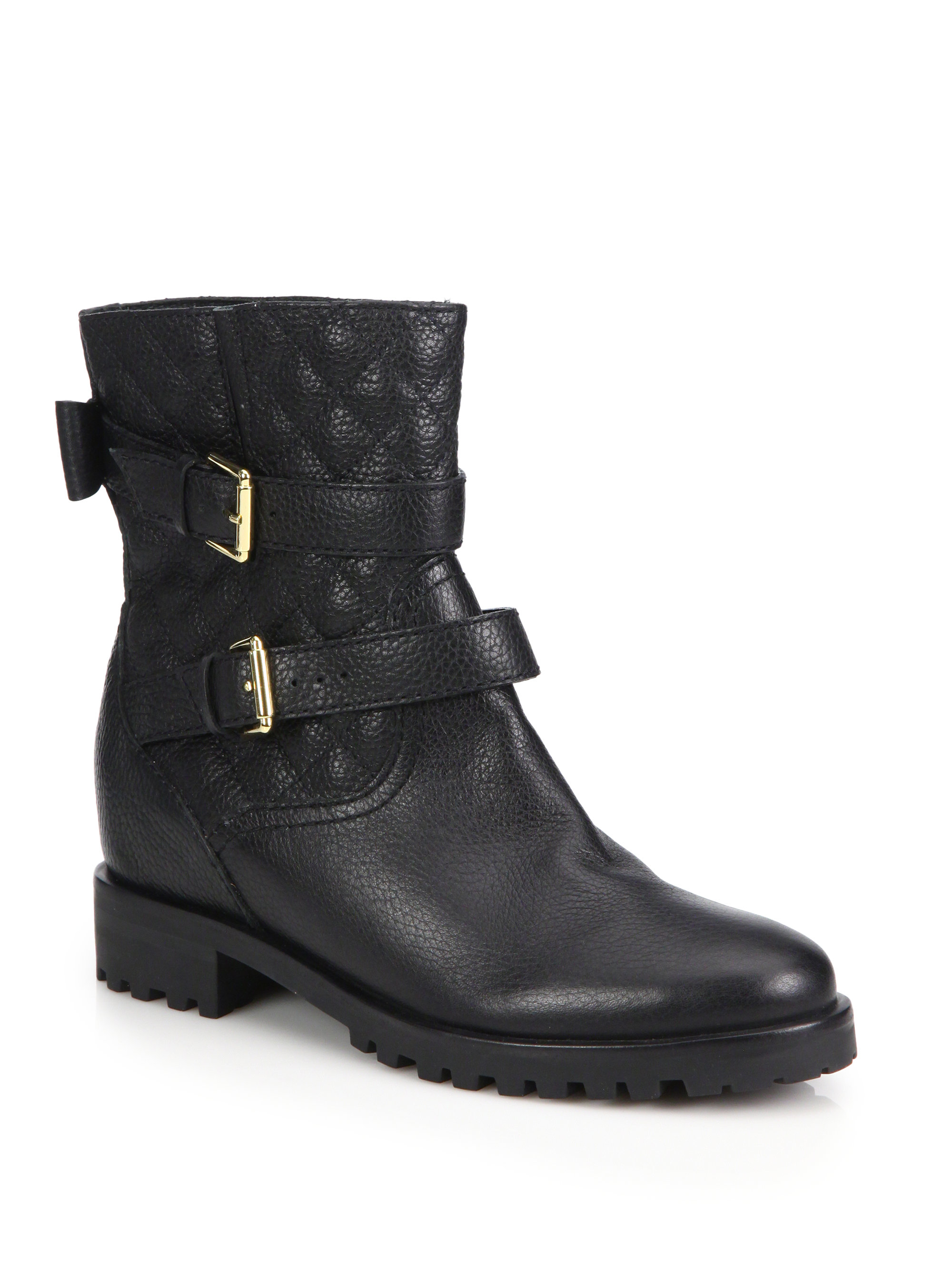 6b20f05b5342 Kate Spade Samara Quilted Leather Boots in Black - Lyst