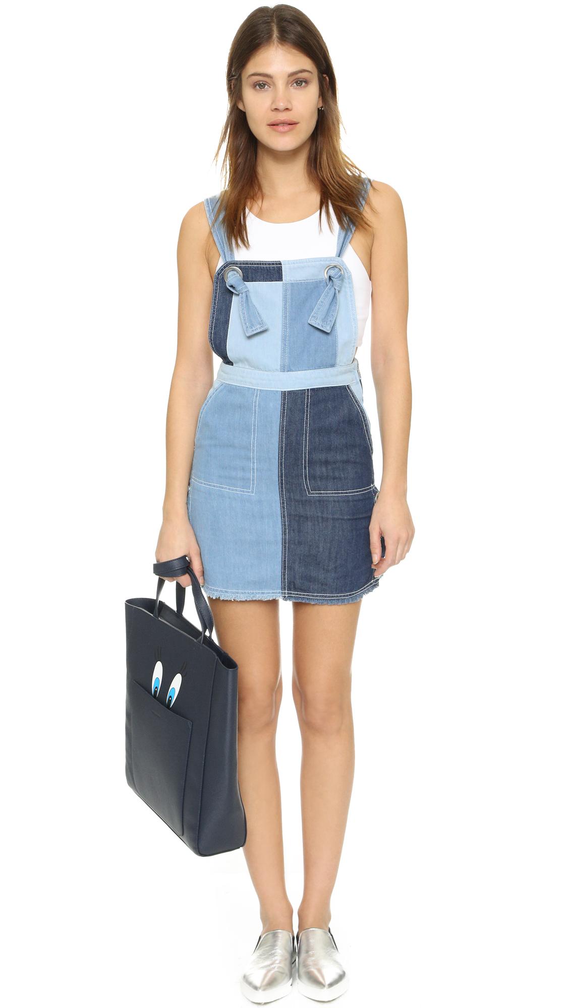 sjyp denim overall dress in blue lyst