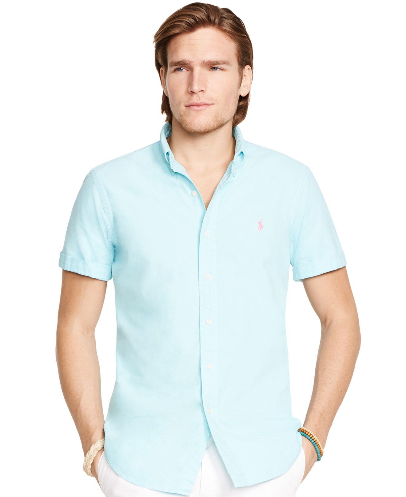 6dca305ebb71 Lyst - Polo Ralph Lauren Short-sleeved Oxford Shirt in Blue for Men