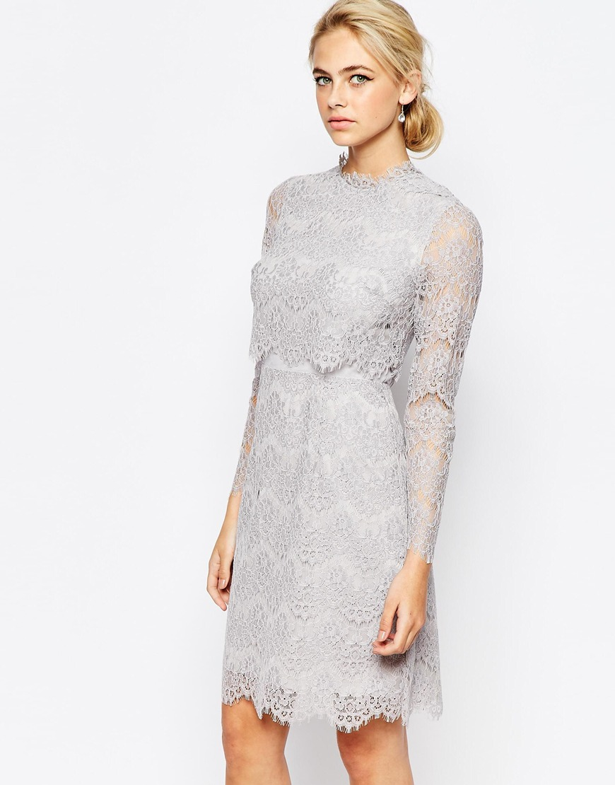 Coast Luella Long Sleeve Lace Dress in Gray | Lyst