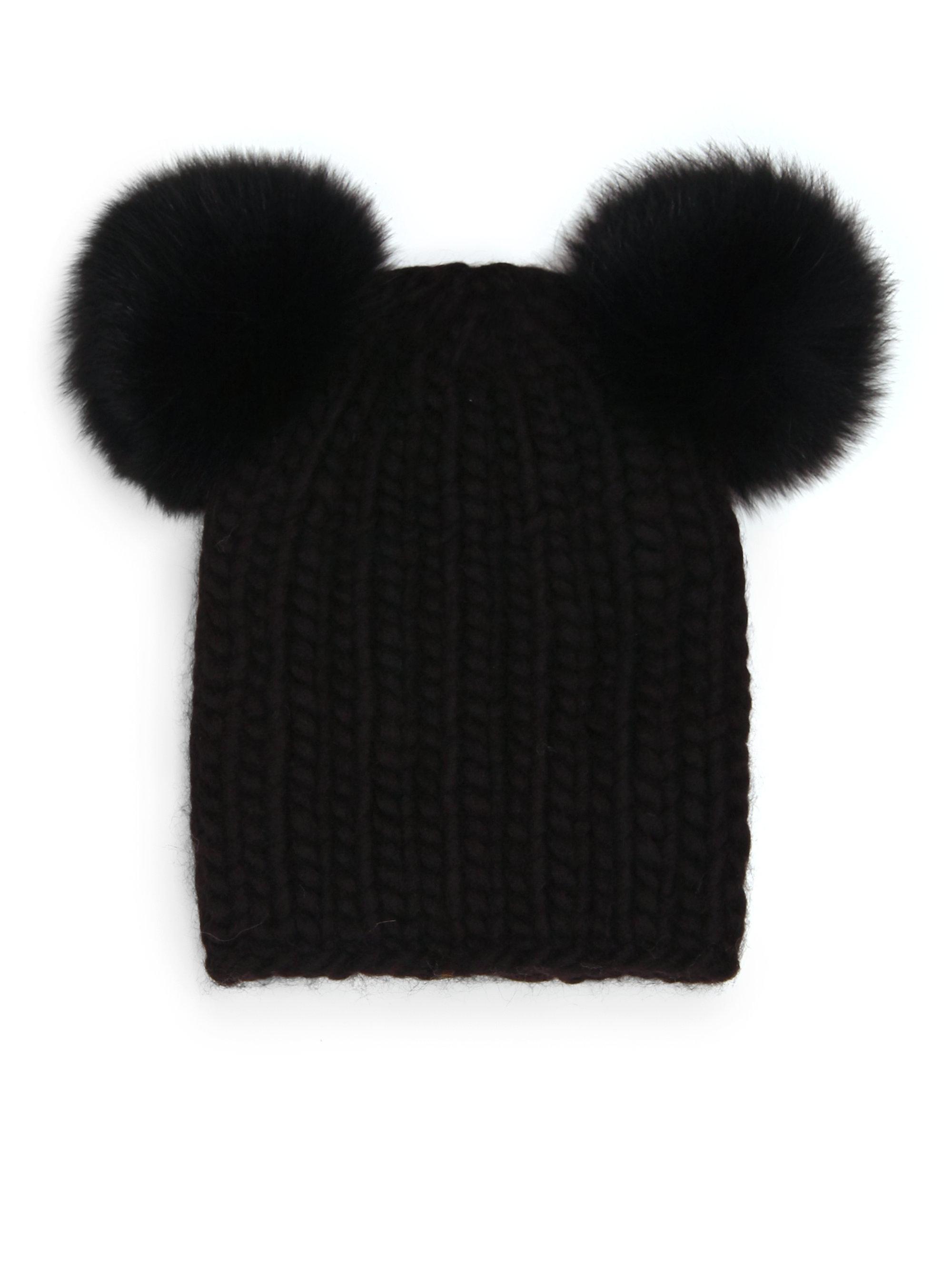 7ac57f5cbcd Lyst - Eugenia Kim Mimi Fox Fur Pom-pom Wool   Alpaca Beanie in Black