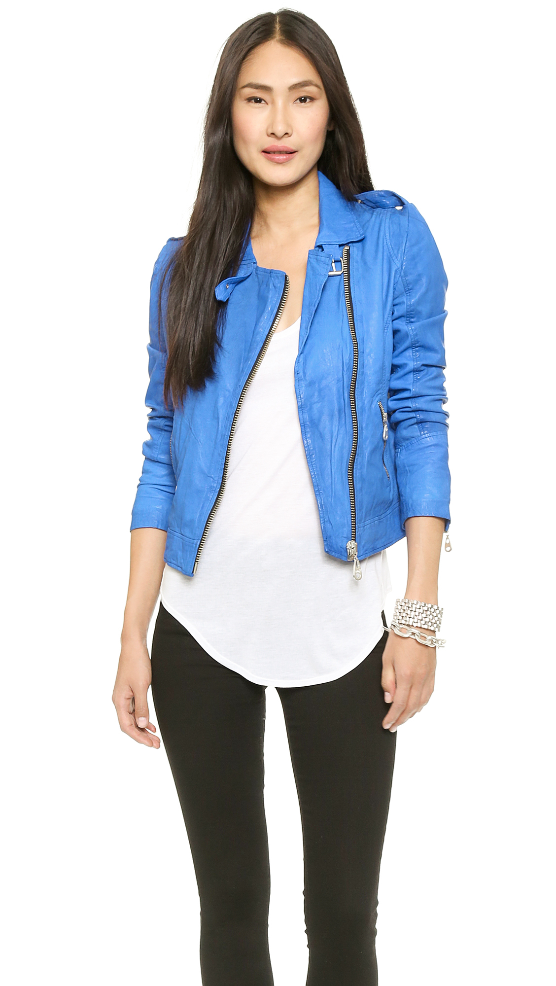 Doma leather Motorcycle Leather Jacket Electric Blue in Blue | Lyst