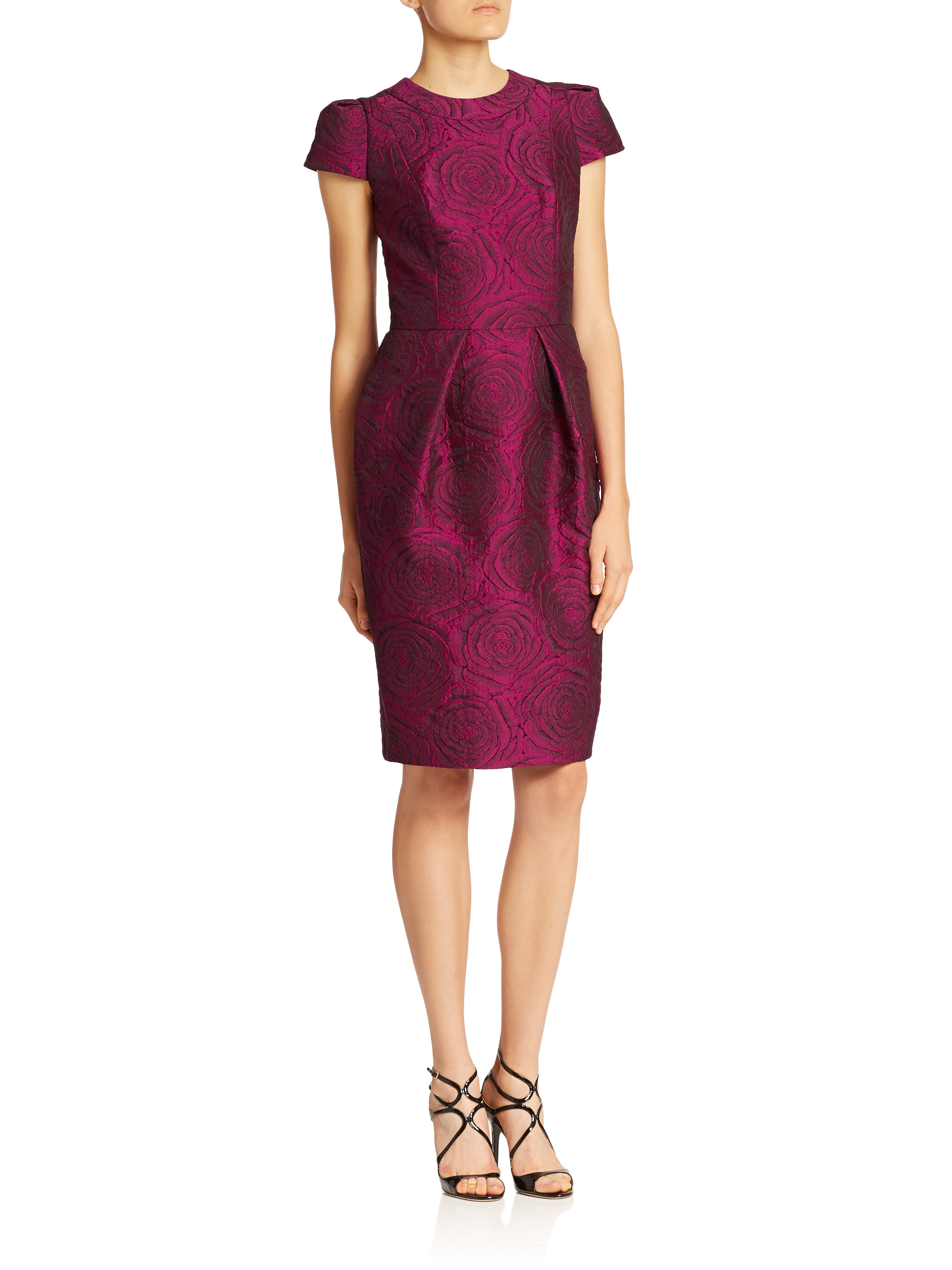 Carmen Marc Valvo Long Sleeve Dress