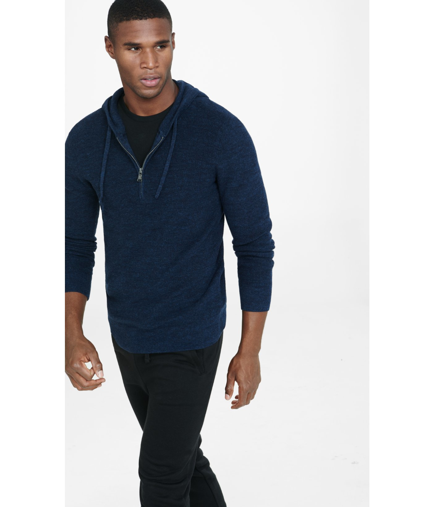 Express Navy Cotton Half Zip Hooded Sweater in Metallic for Men | Lyst