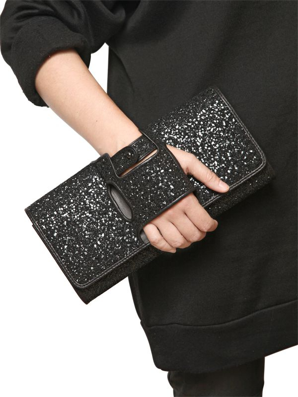 Lyst Perrin Paris Glitter Gloveinspired Leather Clutch
