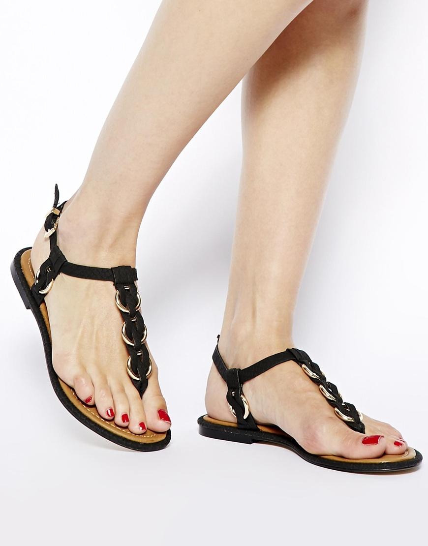 Lyst - ALDO Tbar Metal Flat Sandals in Black