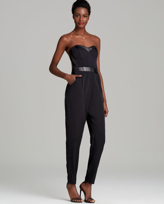 e4b3e92dc386 Lyst - MILLY Jumpsuit Bustier in Black