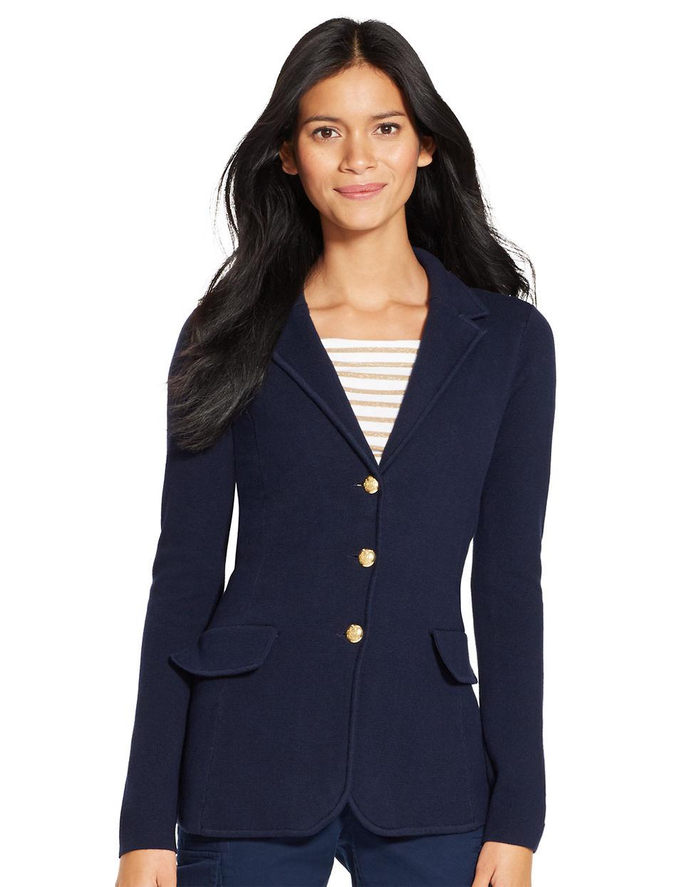 lauren by ralph lauren cotton sweater blazer in blue regal navy lyst. Black Bedroom Furniture Sets. Home Design Ideas