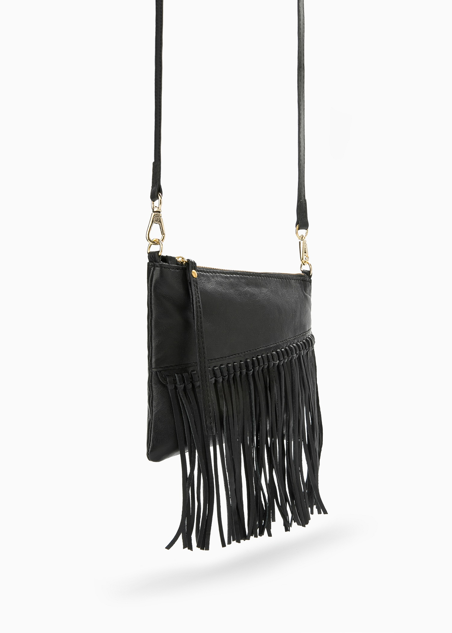 Black Statement Faux Leather Fringe Back Denim Jacket. Order today & shop it like it's hot at Missguided. A denim jacket in a black hue with faux fringe statement feature on the back and studded detail. SMS email facebook twitter Add to Bag Please select garment size to add to your basket.