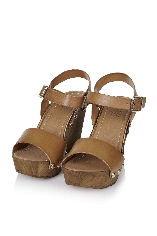 topshop waterfall wedge shoes in brown lyst