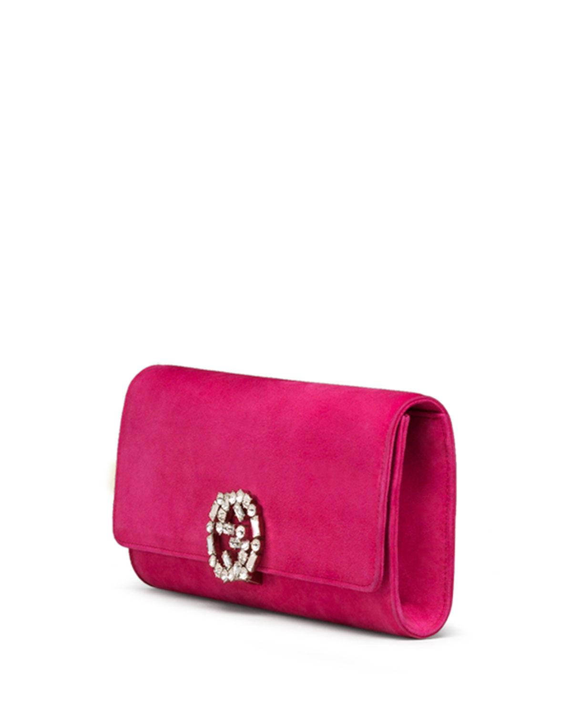 e3c3346f21cd Gucci Broadway Suede Gg Buckle Clutch Bag in Pink - Lyst