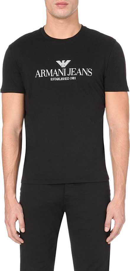 cf617d620af Armani Jeans Eagle Logo-print Cotton T-shirt in Black for Men - Lyst