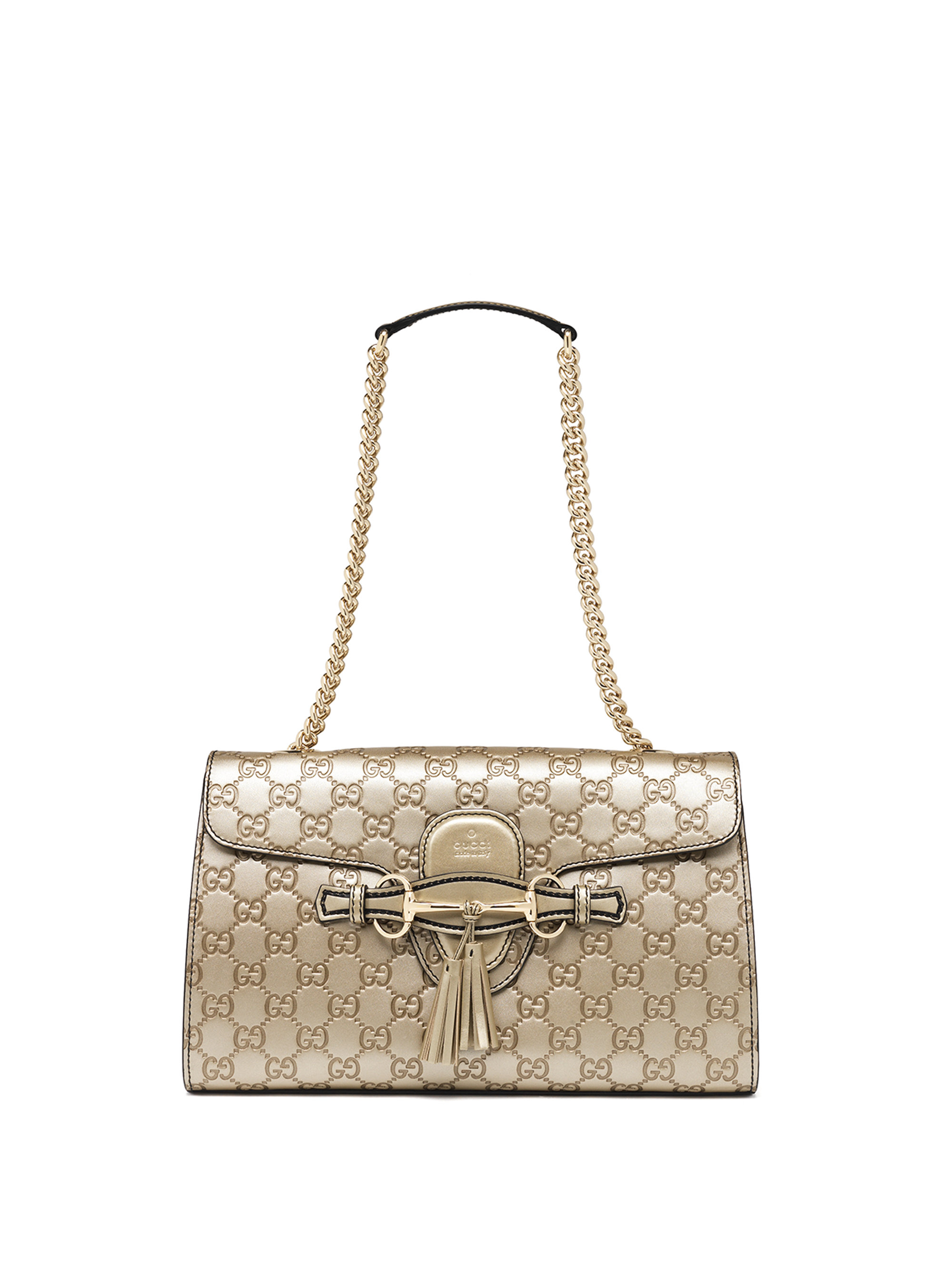 da3a07e63c8 Lyst - Gucci Emily Medium Metallic Ssima Leather Chain Shoulder Bag ...