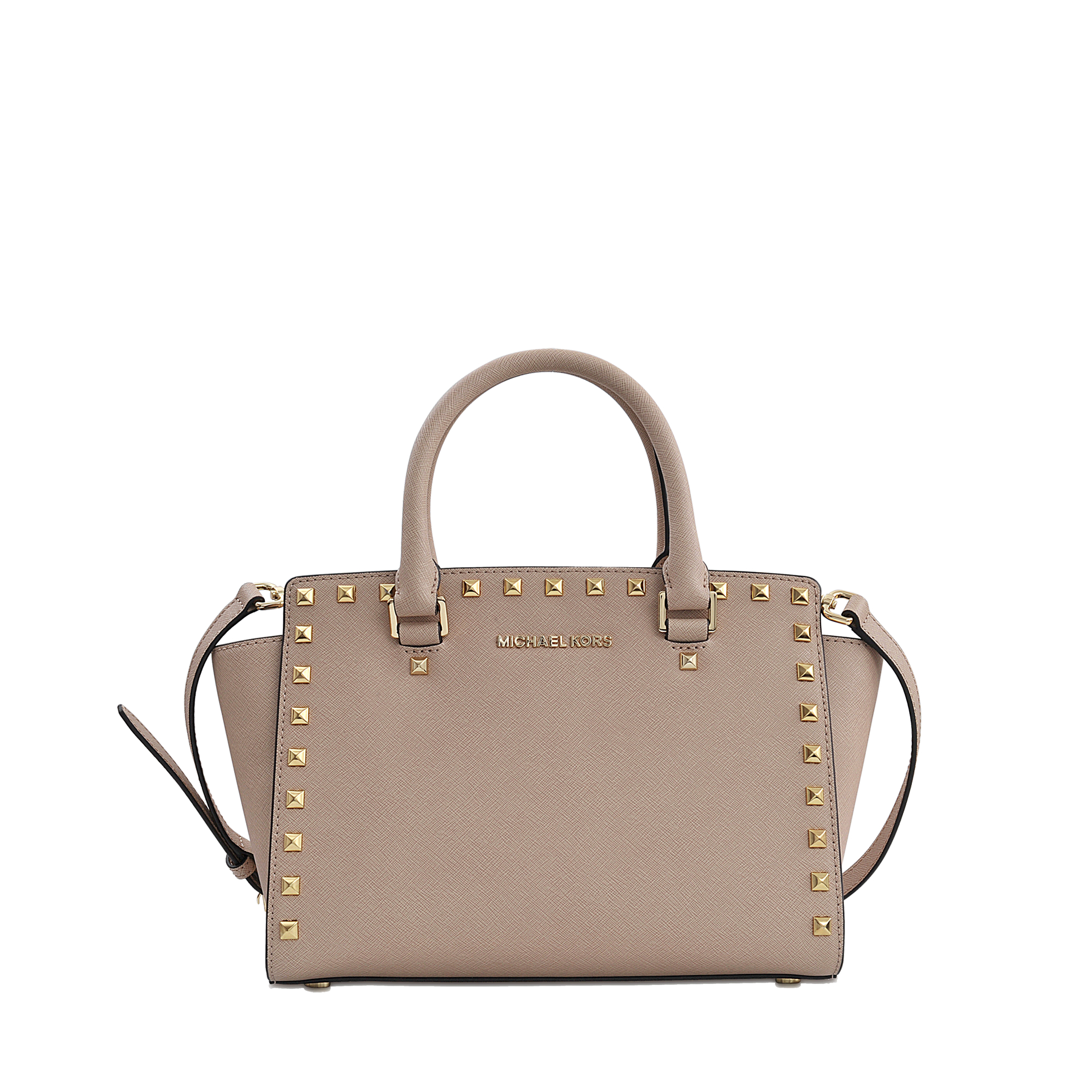 9f28ba1ba1d7 MICHAEL Michael Kors Selma Studded Satchel in Natural - Lyst