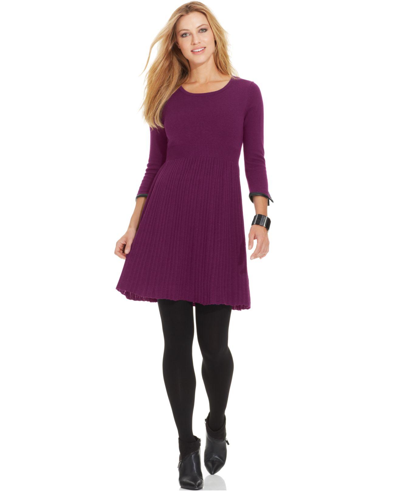 Spense Petite Pleather-Trim Pleated A-Line Sweater Dress ...