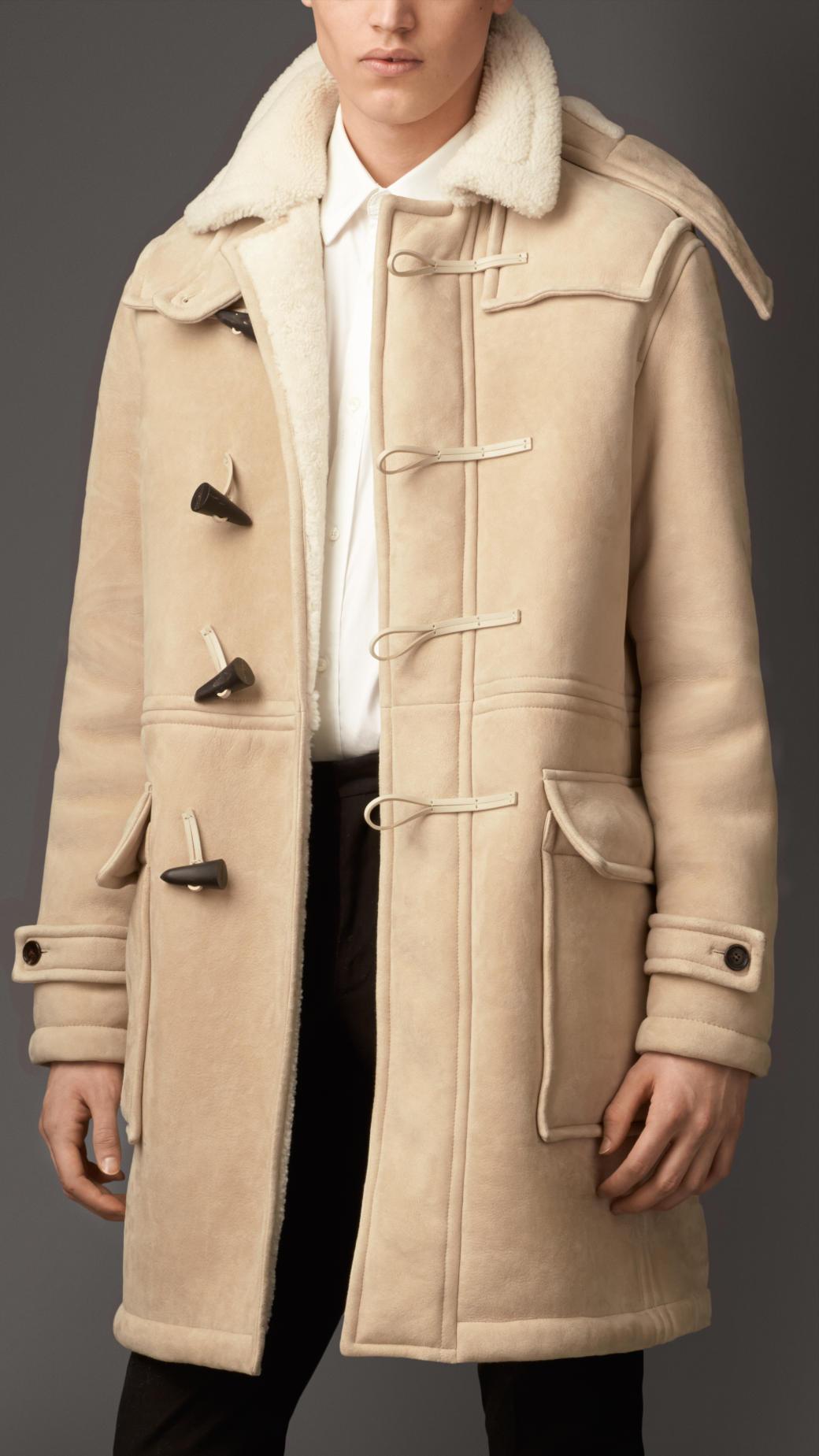 Burberry Heritage Detail Shearling Duffle Coat in Natural for Men ...