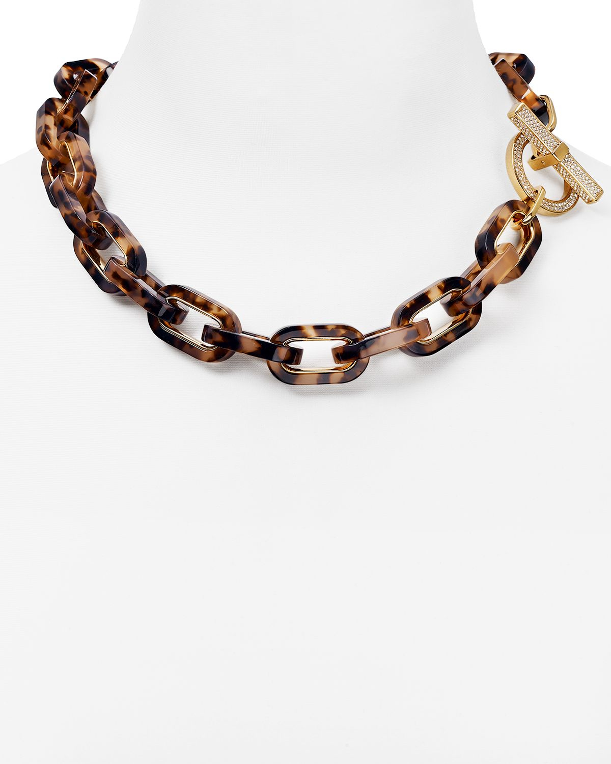 Michael kors pave link toggle necklace 20 in brown lyst for Michael b s jewelry