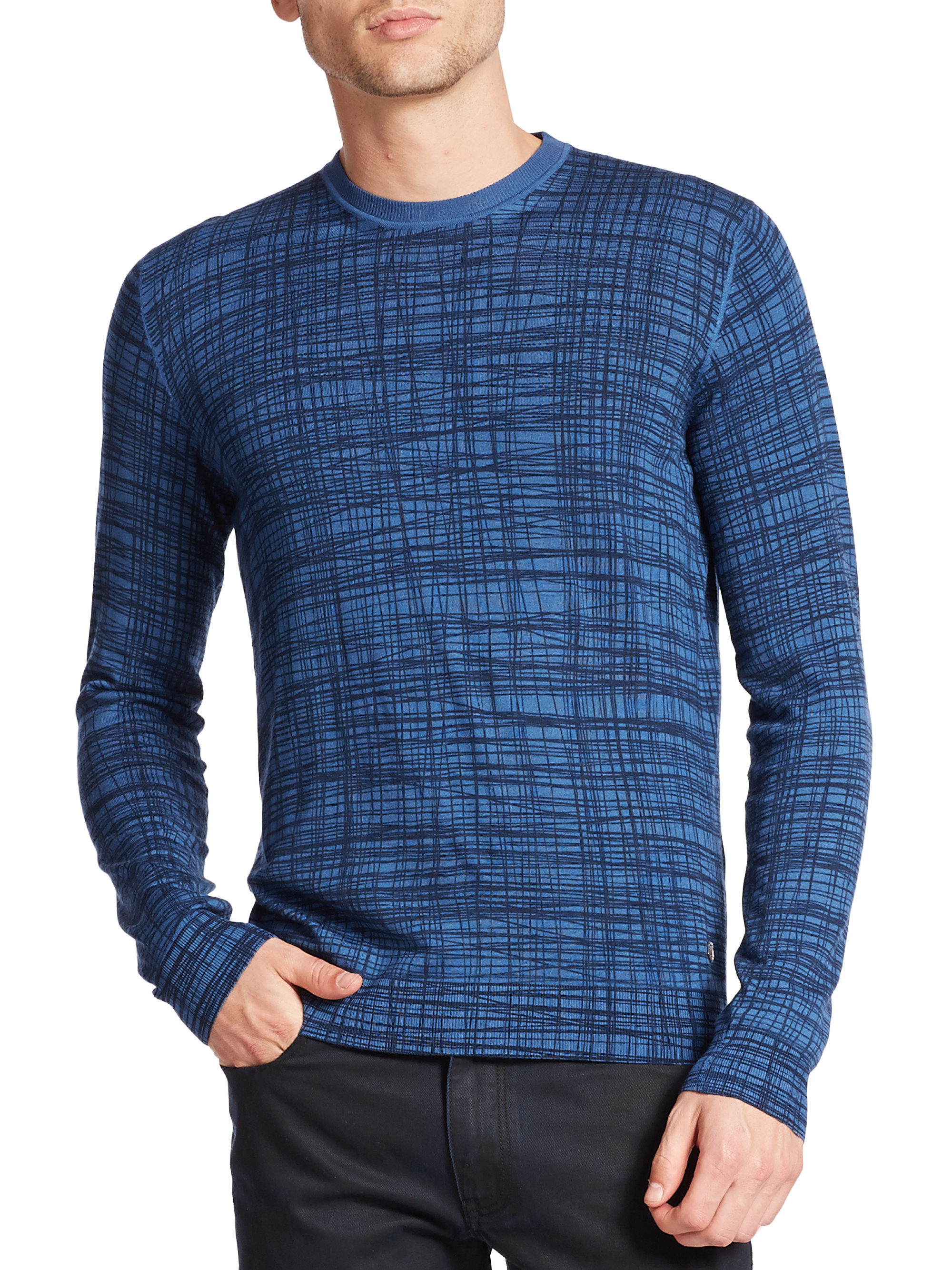 Z zegna Printed Merino Wool Sweater in Blue for Men | Lyst