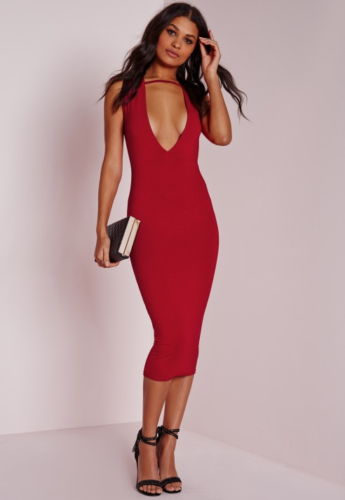 78dbaef22f630 Missguided Jersey Extreme Plunge Band Midi Dress Red in Red - Lyst
