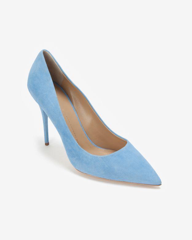lyst giuseppe zanotti suede pointy toe pump powder blue in blue rh lyst com