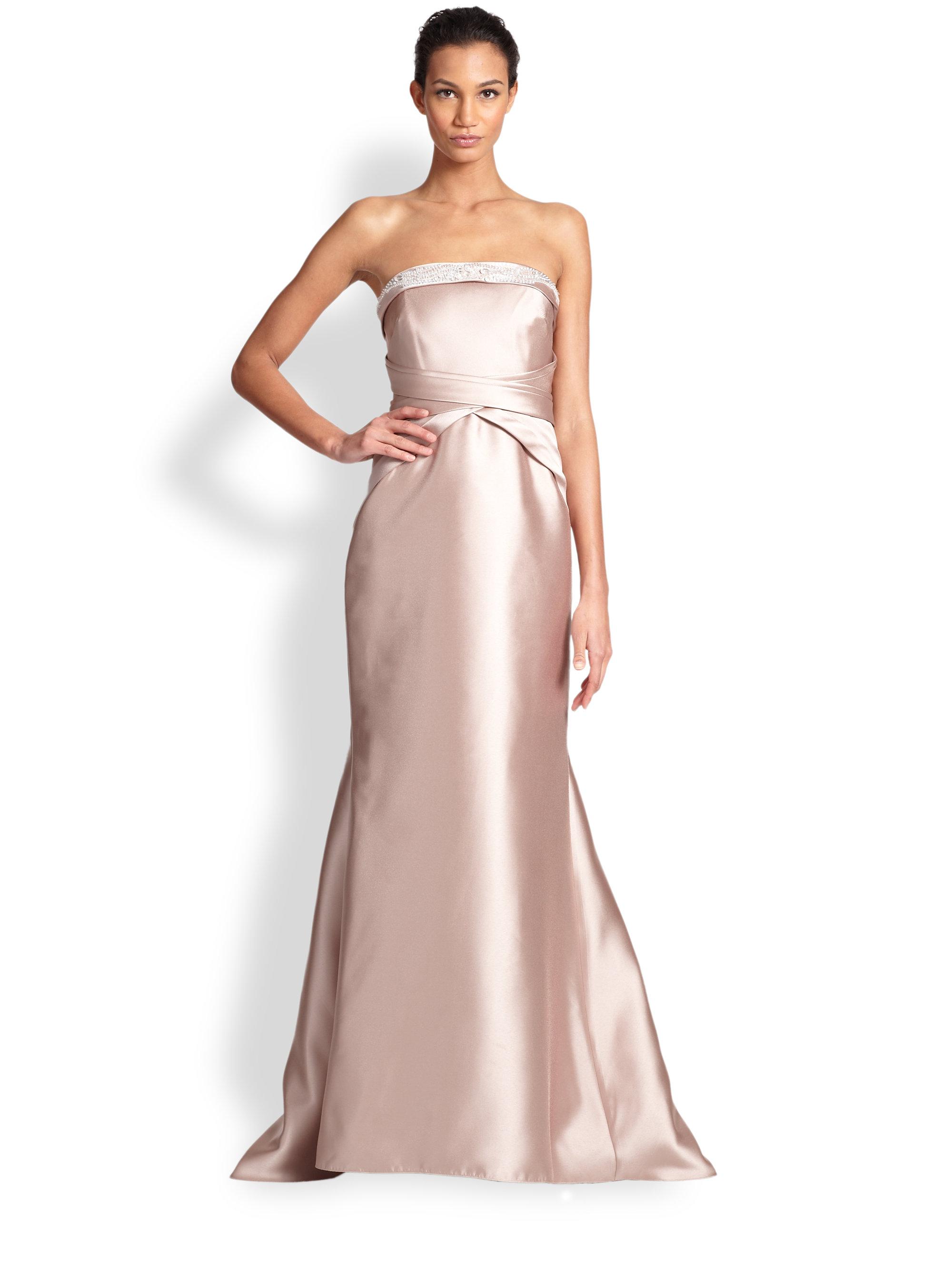 Lyst - Badgley Mischka Strapless Beaded-Trim Column Gown in Pink